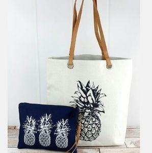 Handbags - NWT Pineapple Print & Leather Handles Tote bag set